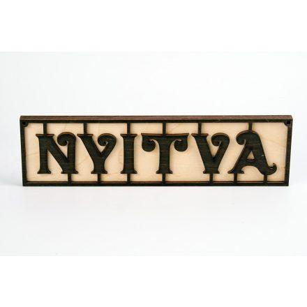 Fából készült Nyitva/Zárva tábla