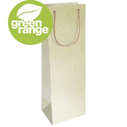 Fűből készült zsinórfüles italos táska 12x9x37 cm