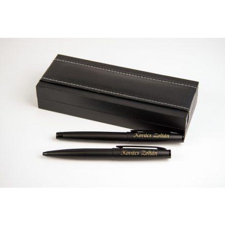 Gravírozható matt fém toll szett műbőr díszdobozban