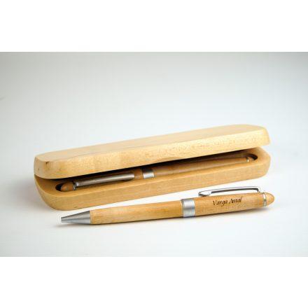 Gravírozható fa toll szett díszdobozban