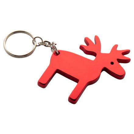 Szarvas formájú alumínium karácsonyi kulcstartó (Piros)