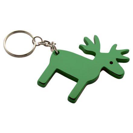 Szarvas formájú alumínium karácsonyi kulcstartó (Zöld)