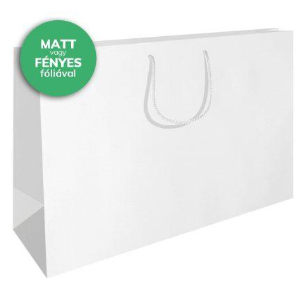 Zsinórfüles papírtáska 45x14x34 cm fehér színben