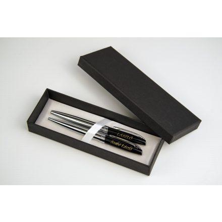 Gravírozható fém toll szett fekete díszdobozban